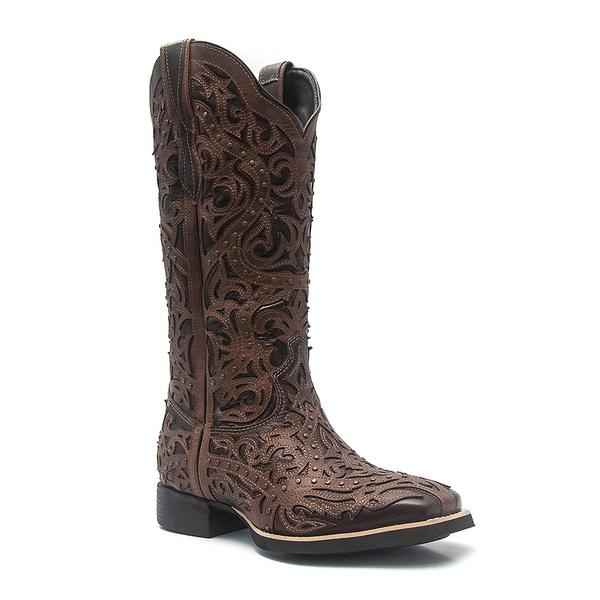 Bota Texana Feminina em Couro com Cano Alto cor Marrom Vimar Boots