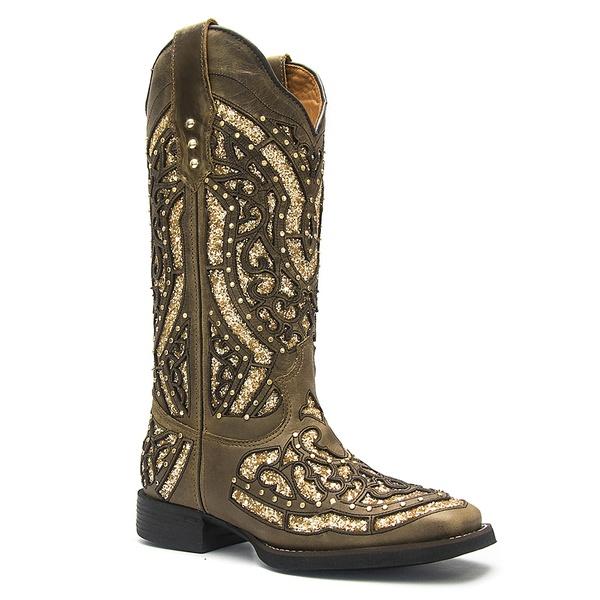 Bota Texana Feminina em Couro Legítimo com Craquelê Ouro Vimar Boots