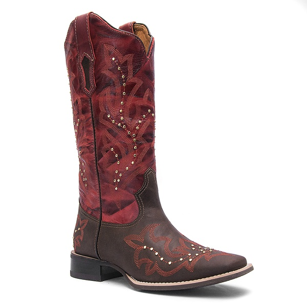 Bota Texana Feminina Cano Alto em Couro cor Castor e Vermelho Vimar Boots