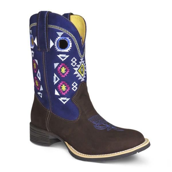 Bota Texana Feminina Azul Bico Redondo em Couro