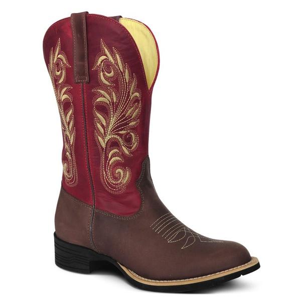 Bota Texana Feminina Cano Vermelho Bico Redondo em Couro Silverado