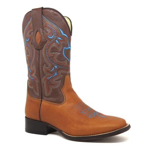 Bota Texana Masculina Bico Quadrado Couro Fóssil Mostarda E Floater Conhaque Silverado