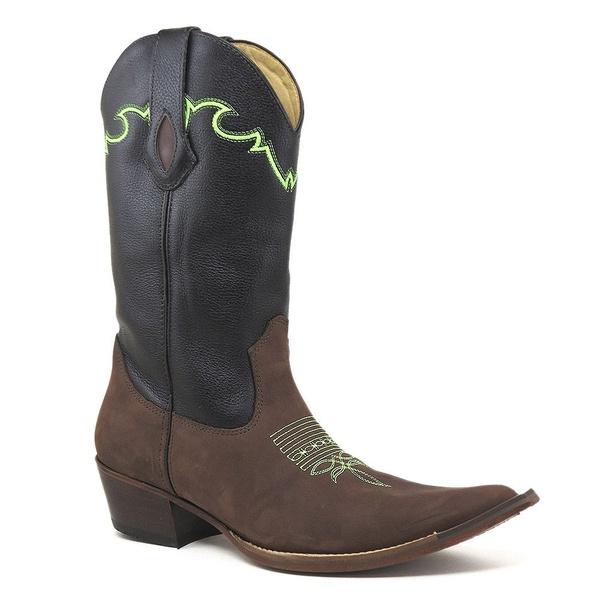 Bota Texana Masculina Couro Crazy Horse Café E Floater Preto