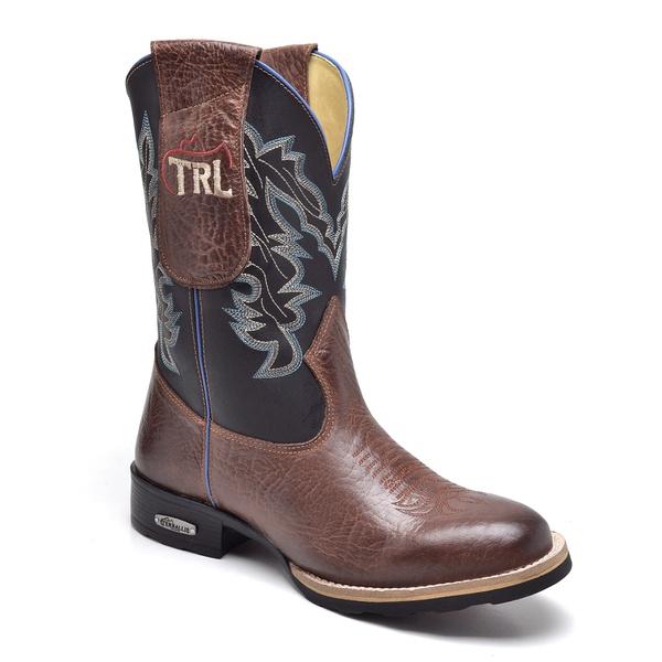 Bota Texana Masculina Country em Couro Legítimo Bico Redondo Terralis 8086