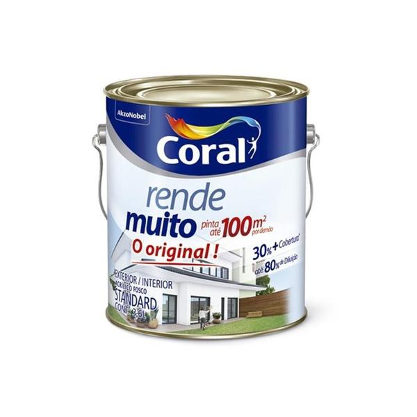 TINTA ACRÍLICA FOSCO BRANCO NEVE RENDE MUITO 3,6L CORAL