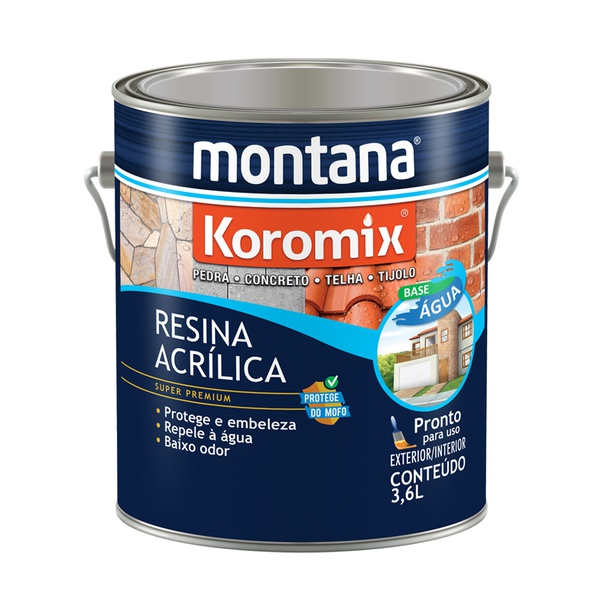 MONTANA KOROMIX RESINA ACRÍLICA ÁGUA INCOLOR 3,6L