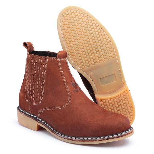 Botina Vira Francesa Top Franca Shoes em Couro Marrom