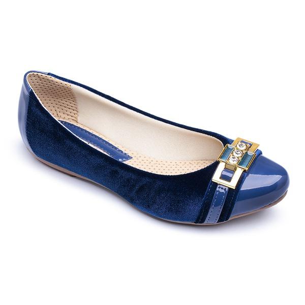 Sapatilha Feminina Confortável Com Metal e Verniz Azul