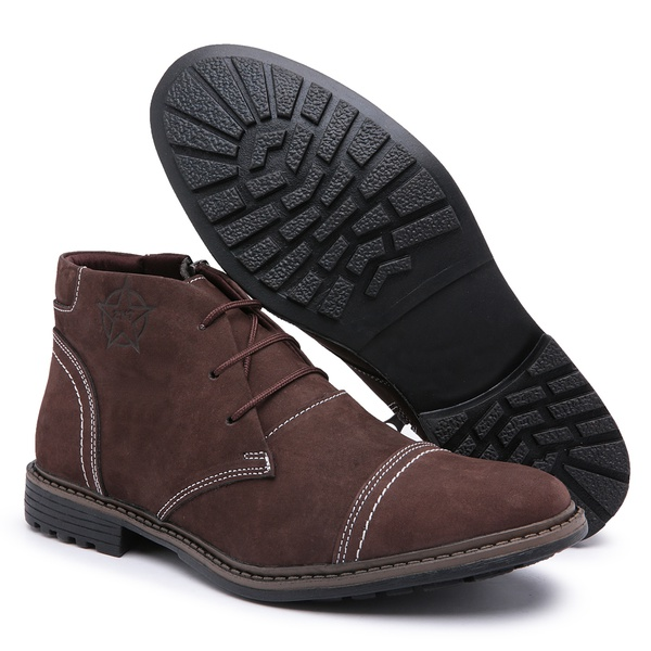 Bota Coturno Masculino Top Franca Shoes C/ Ziper Cafe