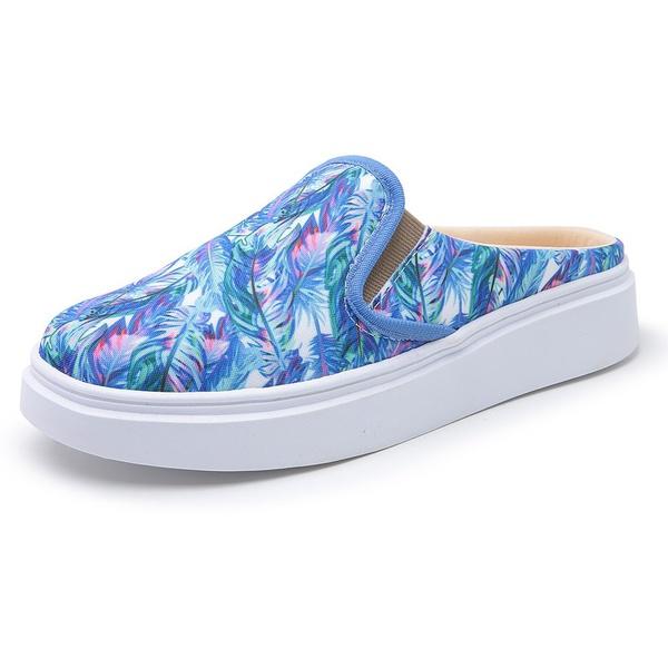 Sapatênis Feminino Top Franca Shoes Mule Floral Azul