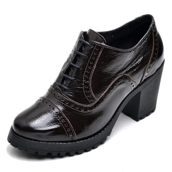 Bota Coturno Feminino Top Franca Shoes Ankle Boot Verniz Café