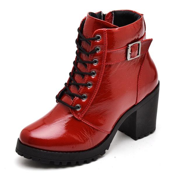Bota Coturno Feminino Top Franca Shoes Motociclista Verniz Vermelho