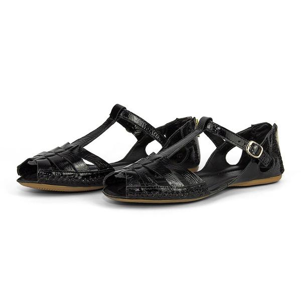 Sandalia Sapatilha Feminino Shoes Moleca Verniz Preto