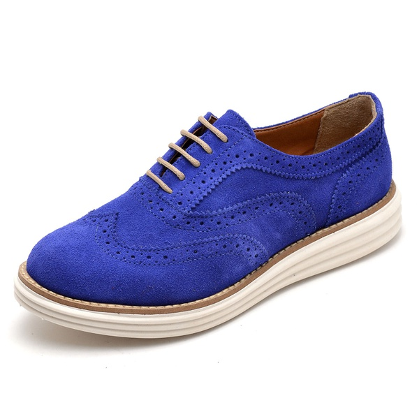 Sapato Social Feminino Oxford Camurça Azul Bic