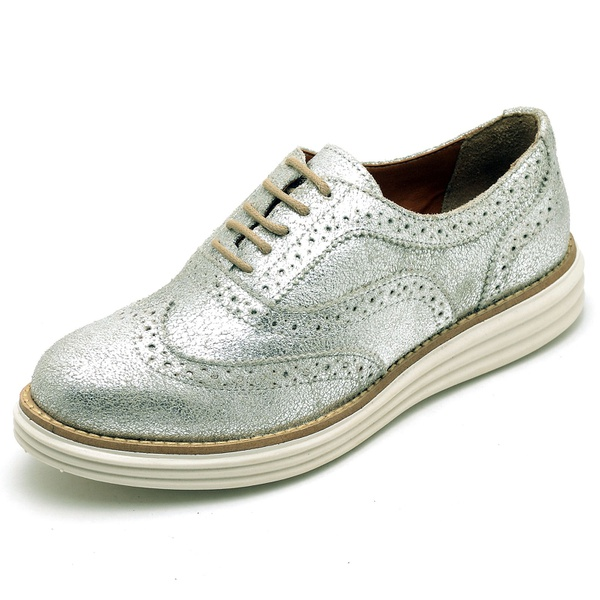 Sapato Social Feminino Oxford Camurça Prata