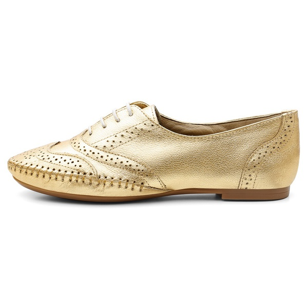 Sapato Social Feminino Top Franca Shoes Oxford Confort Ouro
