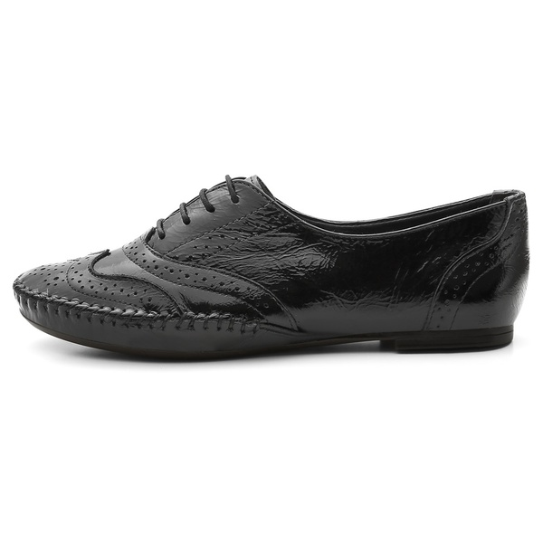 Sapato Social Feminino Top Franca Shoes Oxford Confort Verniz Preto
