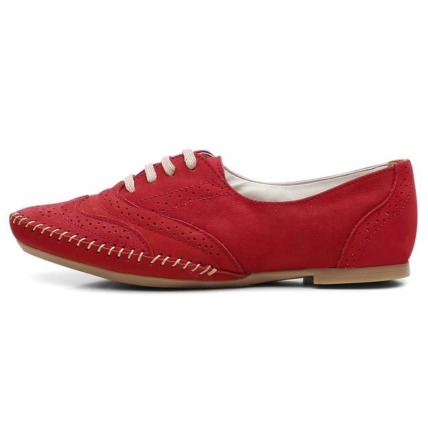 Sapato Social Feminino Top Franca Shoes Oxford Confort Vermelho