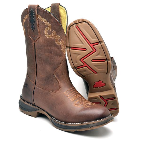 Bota Country Top Franca Shoes em Couro Fossil Havana
