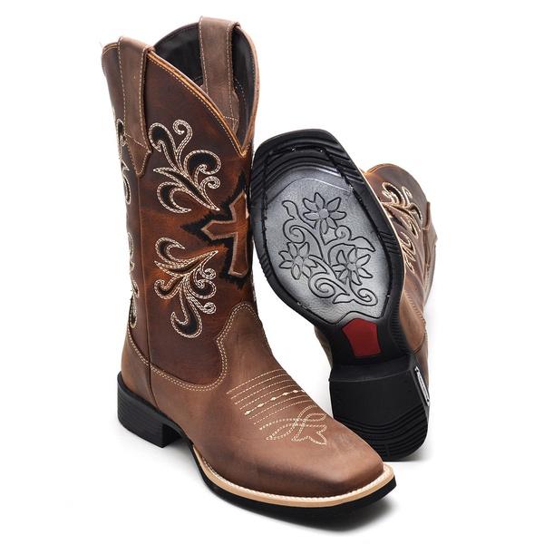 Bota Country Feminina Top Franca Shoes em Couro Latego Cafe
