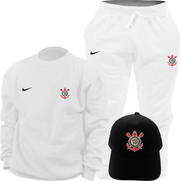 Kit Blusa Moletom Gola Careca Nike Corinthians + Calça + Boné