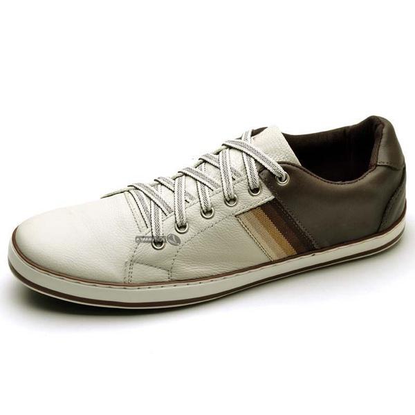 Sapatênis Masculino Top Franca Shoes Cafe/Branco