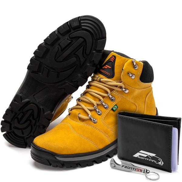 Kit Bota Coturno Adventure + Carteira + Abridor Amarelo Preto