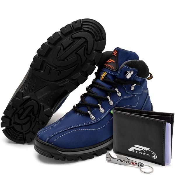 Kit Bota Coturno Adventure + Carteira + Abridor Azul Preto