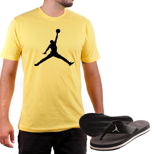 Kit Camiseta Algodão + Chinelo Jordan Amarelo