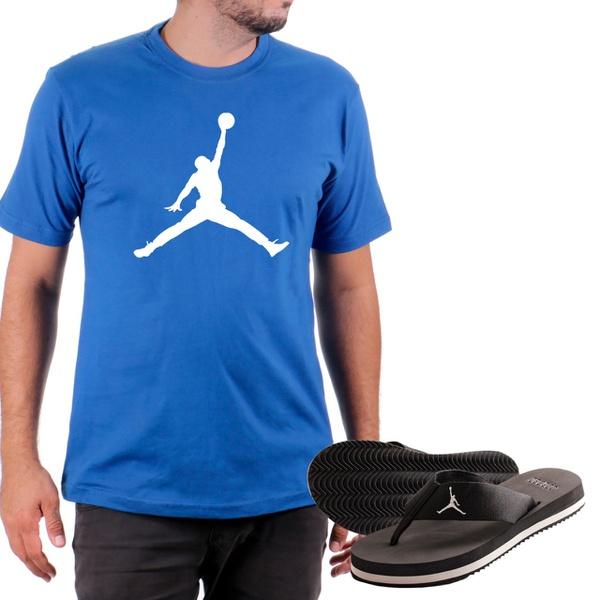 Kit Camiseta Algodão + Chinelo Jordan Azul