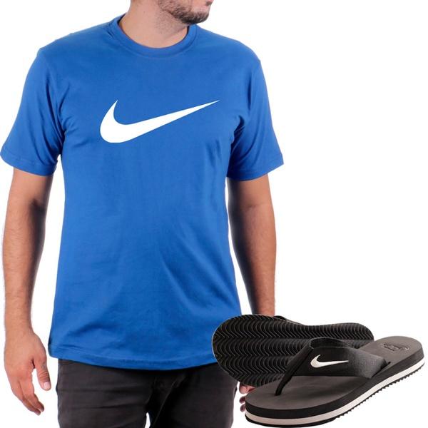 Kit Camiseta Algodão + Chinelo Nike Azul
