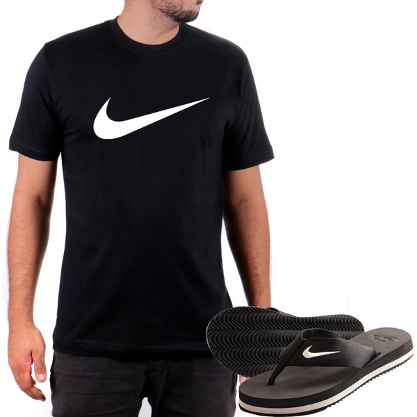 Kit Camiseta Algodão + Chinelo Nike Preto