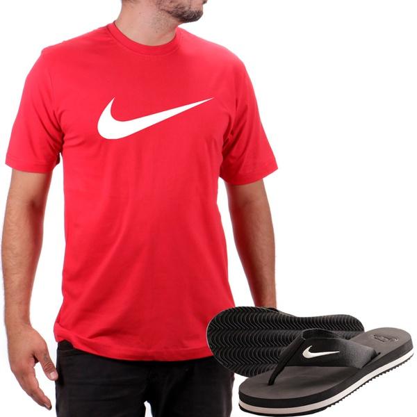 Kit Camiseta Algodão + Chinelo Nike Vermelho