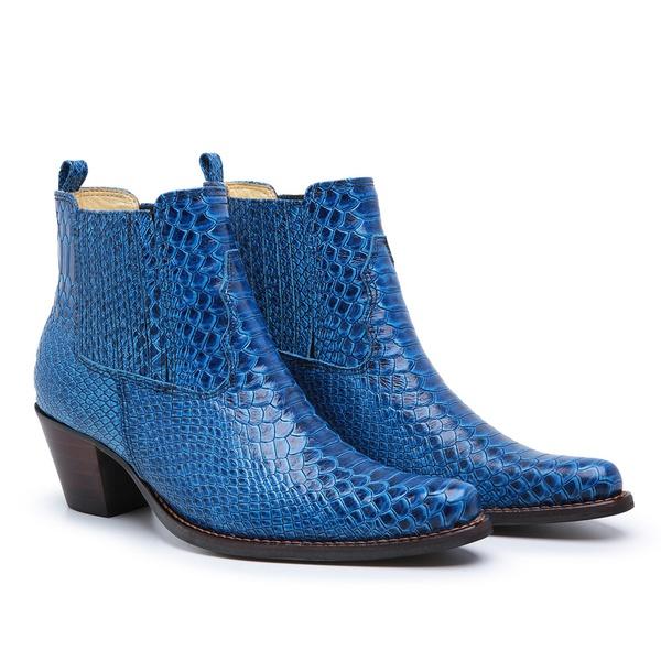 Bota Feminina em Couro Anaconda Azul Fidalgo