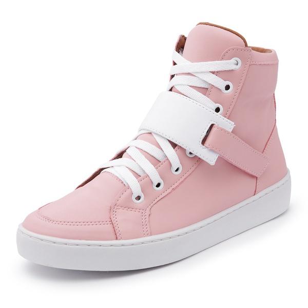 Sapatênis Feminino Cano Alto Top Franca Shoes Rosa / Branco