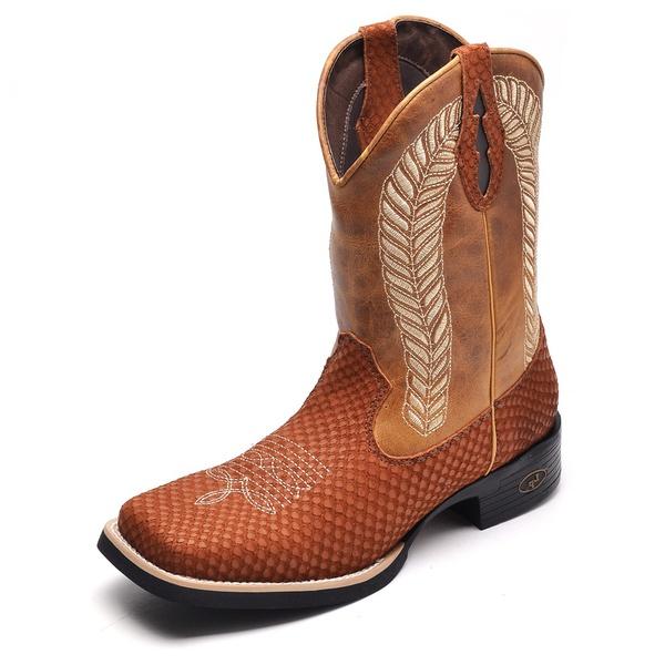 Bota Country Masculina Bico Quadrado Top Franca Shoes Havana / Whisk