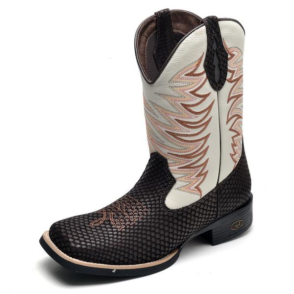 Bota Country Masculina Bico Quadrado Top Franca Shoes Cafe / Gelo