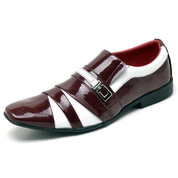 Sapato Social Masculino Top Franca Shoes Verniz Vermelho / Branco