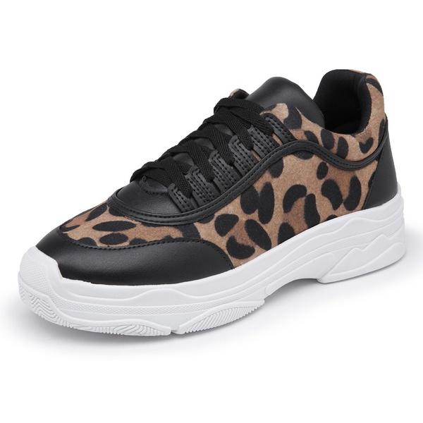 Sapatênis Feminino Sola Alta Top Franca Shoes Onça