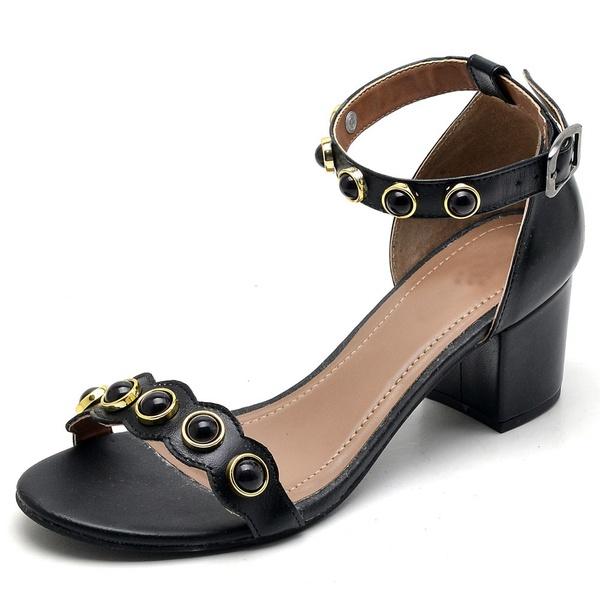 Sandália Feminina Top Franca Shoes Salto Alto Grosso Pedras Preto