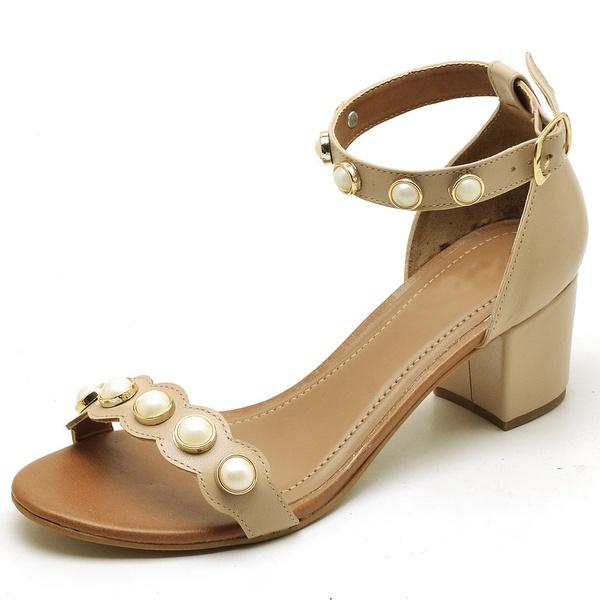 Sandália Feminina Top Franca Shoes Salto Alto Grosso Pedras Nude