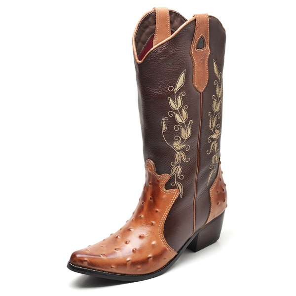 Bota Country Feminina Bico Fino Top Franca Shoes Avestruz Mel / Cafe