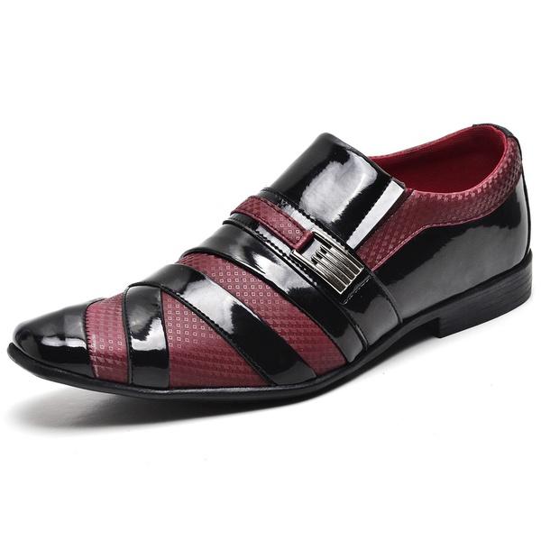 Sapato Social Masculino Top Franca Shoes Verniz Preto Vermelho