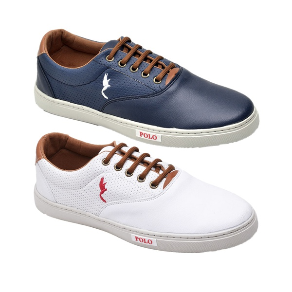 Kit 2 Pares Sapatênis Casual Top Franca Shoes Azul / Branco