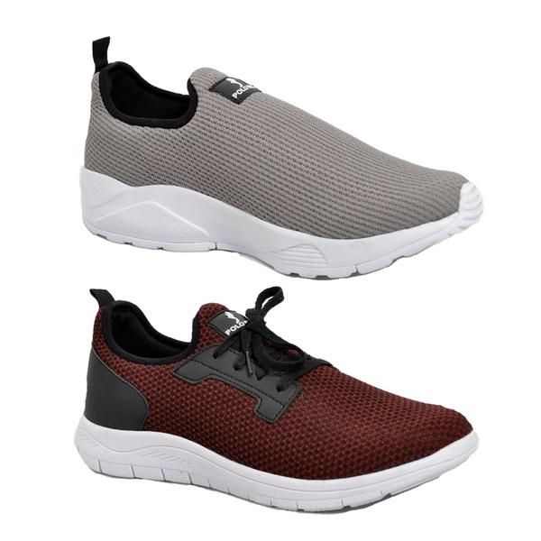 Kit 2 Pares Tênis Esporte Fitnes Top Franca Shoes Cinza / Vermelho