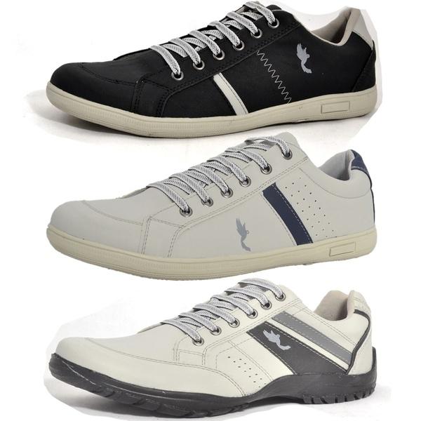 Kit 3 Pares Sapatênis Casual Top Franca Shoes Preto / Cinza