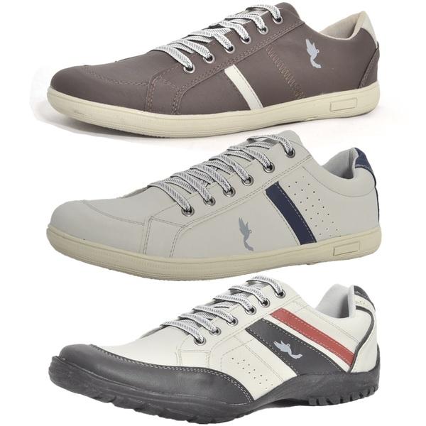 Kit 3 Pares Sapatênis Casual Top Franca Shoes Cinza / Café