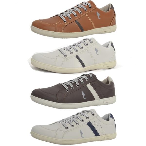 Kit 4 Pares Sapatênis Casual Top Franca Shoes Camel / Cinza / Preto