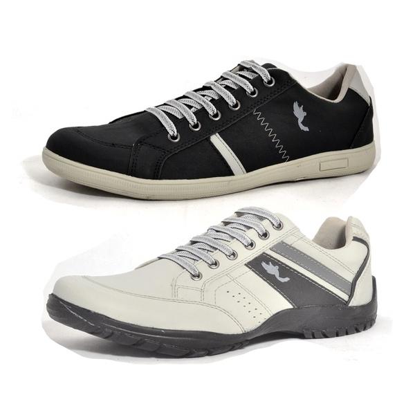 Kit 2 Pares Sapatênis Casual Top Franca Shoes Cinza / Preto