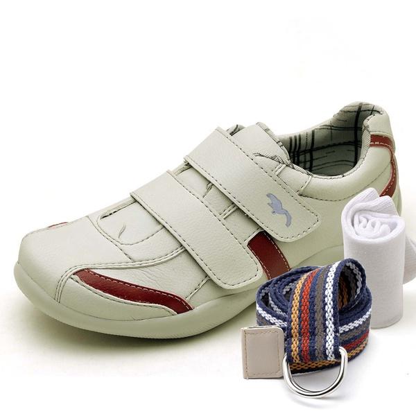 Kit Sapatênis Infantil Casual Top Franca Shoes Cinza + Cinto e Meia
